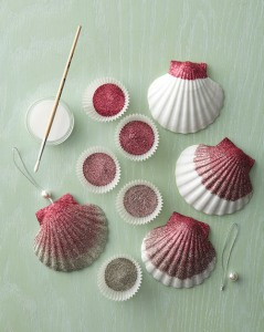 Ombre Flittered Seashell Ornaments